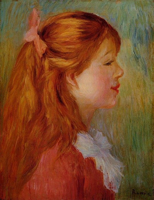 Young Girl with Long Hair in Profile - 1890 (Private collection). Пьер Огюст Ренуар