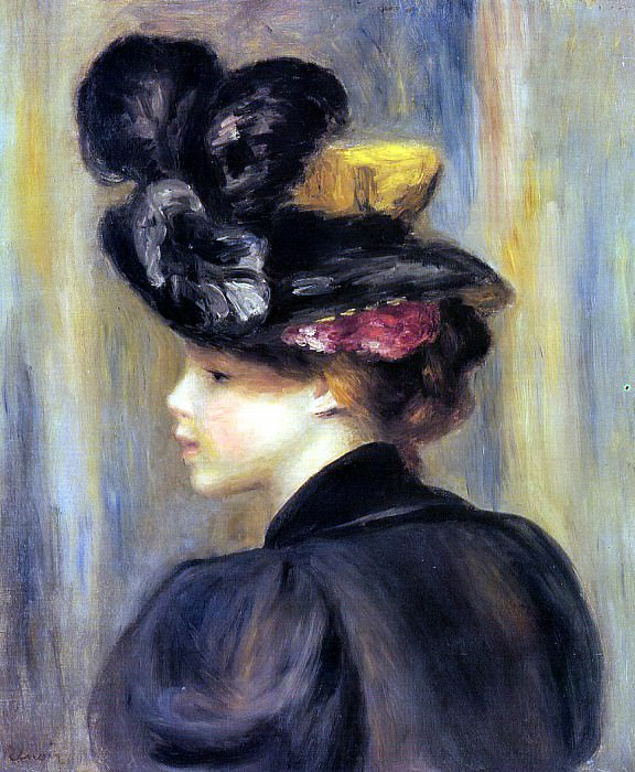 Young Woman Wearing a Black Hat - 1895. Pierre-Auguste Renoir