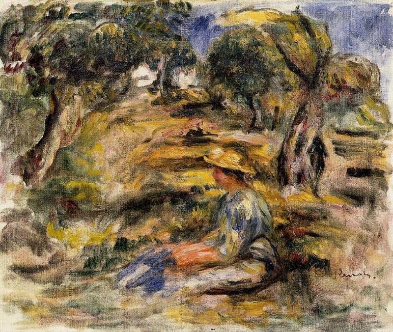 Seated Woman in Blue. Pierre-Auguste Renoir