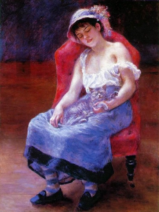 Sleeping Girl (also known as Girl with a Cat - 1880. Pierre-Auguste Renoir