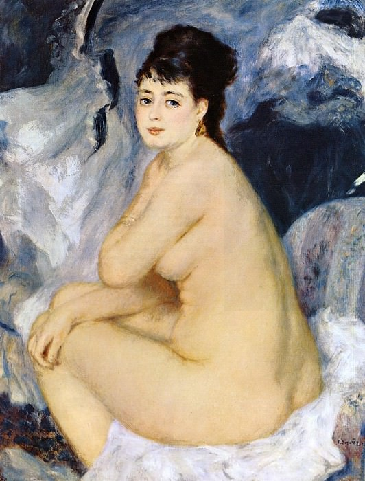 Nude Seated on a Sofa - 1876. Пьер Огюст Ренуар
