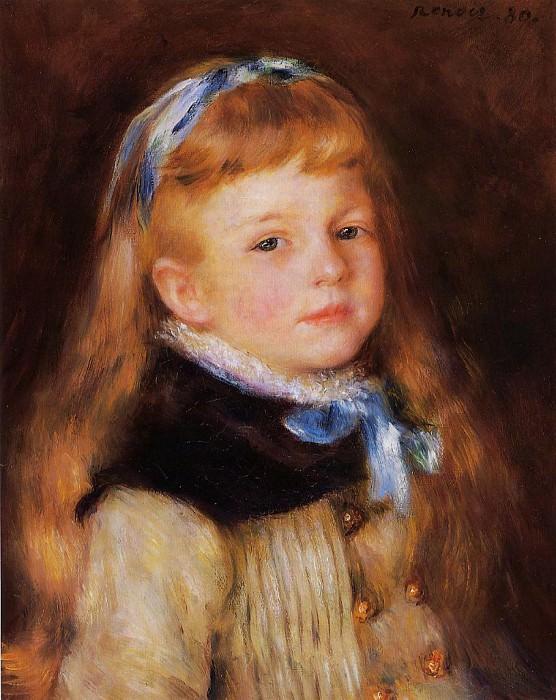 Mademoiselle Grimprel in a Blue Ribbon - 1880. Pierre-Auguste Renoir