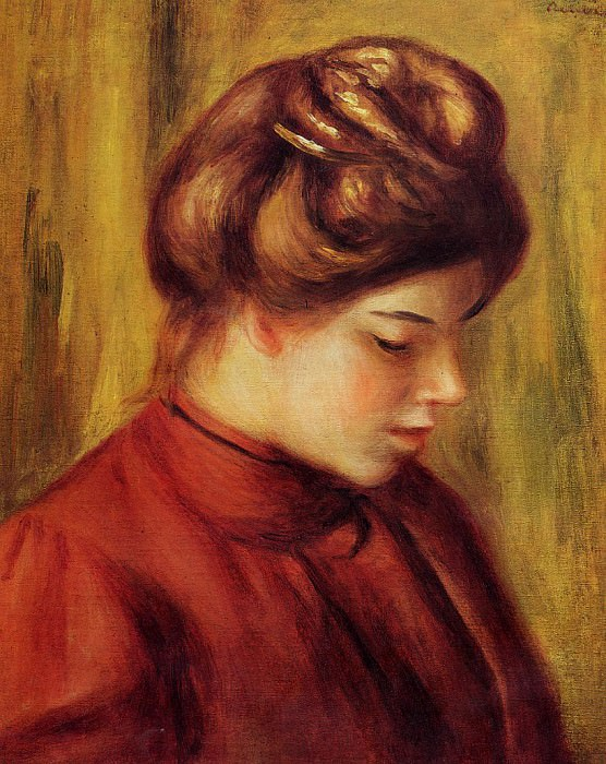 Profile of a Woman in a Red Blouse - 1897. Пьер Огюст Ренуар