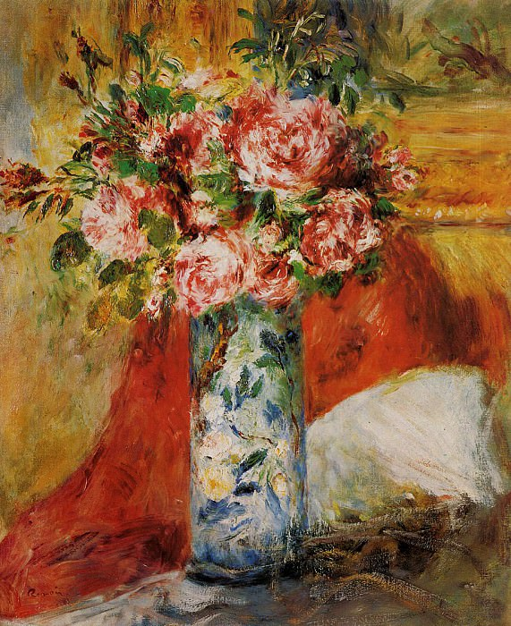 Roses in a Vase - 1876. Пьер Огюст Ренуар