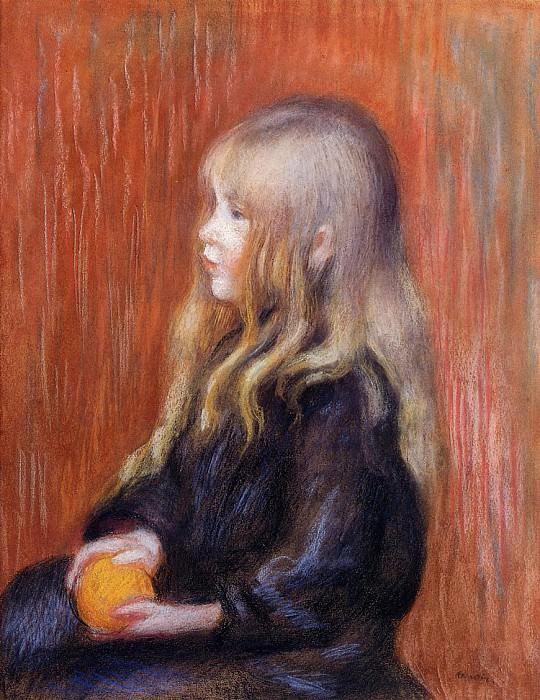 Coco Holding a Orange - 1914. Pierre-Auguste Renoir