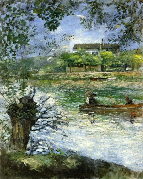 Willows and Figures in a Boat - 1880. Pierre-Auguste Renoir