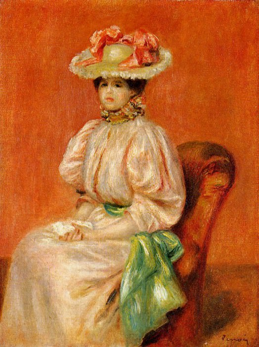 Seated Woman with Green Sash. Pierre-Auguste Renoir