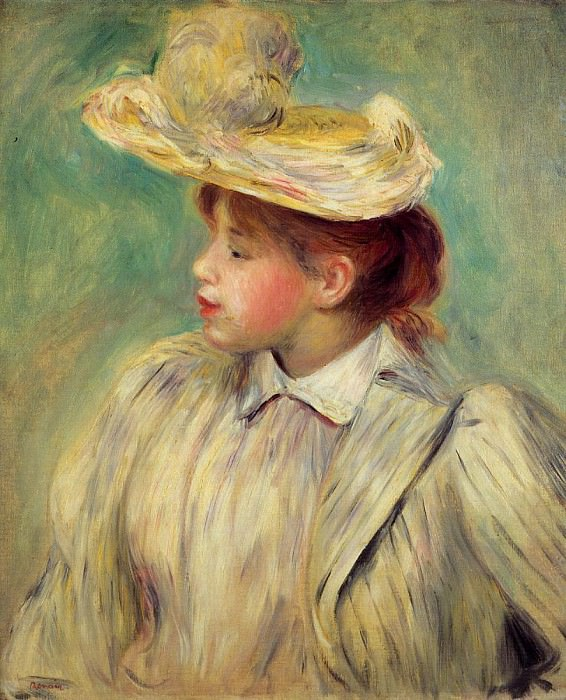 Young Woman in a Straw Hat. Пьер Огюст Ренуар