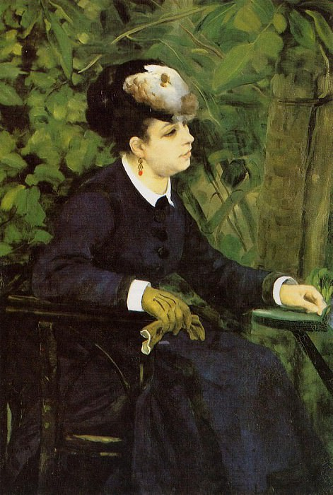 Woman in a Garden (also known as Woman with a Seagull) - 1868. Pierre-Auguste Renoir