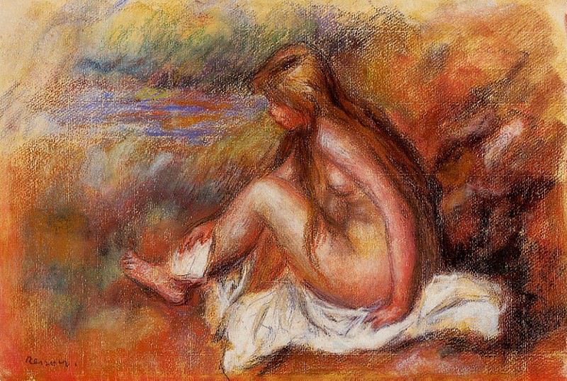 Bather Seated by the Sea. Пьер Огюст Ренуар