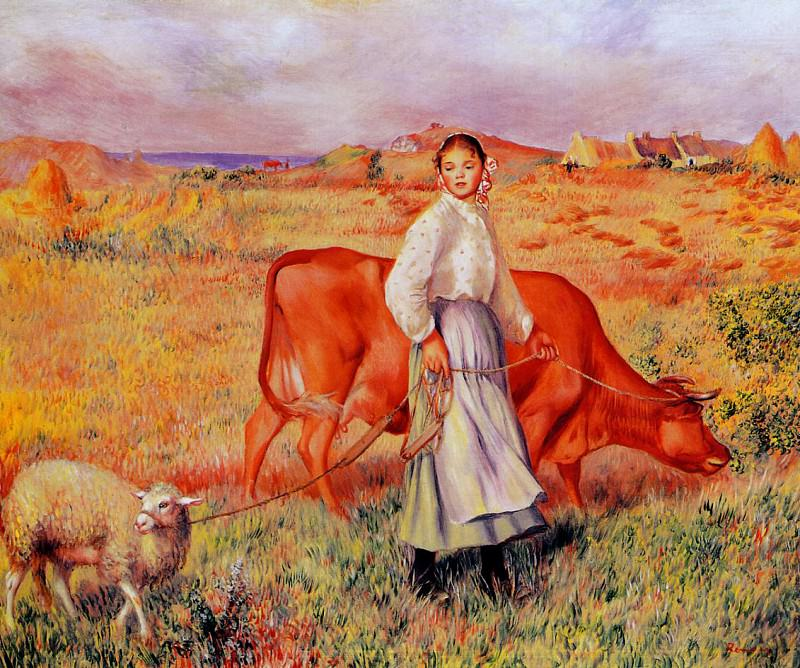 Shepherdess, Cow and Ewe - 1886 - 1887. Пьер Огюст Ренуар