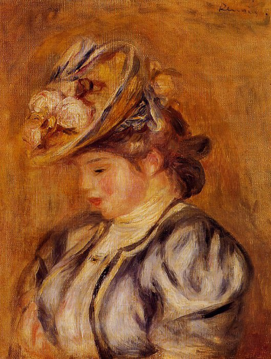 Girl in a Flowery Hat - ок 1905 -1908. Pierre-Auguste Renoir