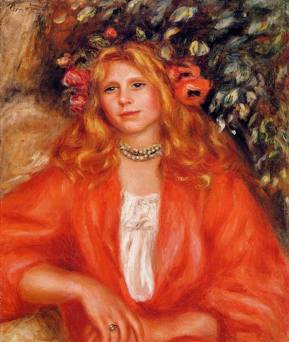 Young Woman Wearing a Garland of Flowers - 1908. Pierre-Auguste Renoir