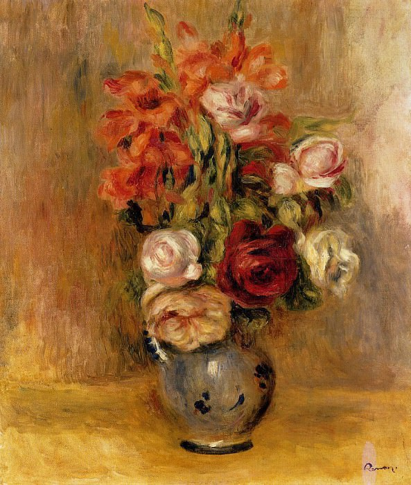 Vase of Gladiolas and Roses - 1909. Pierre-Auguste Renoir