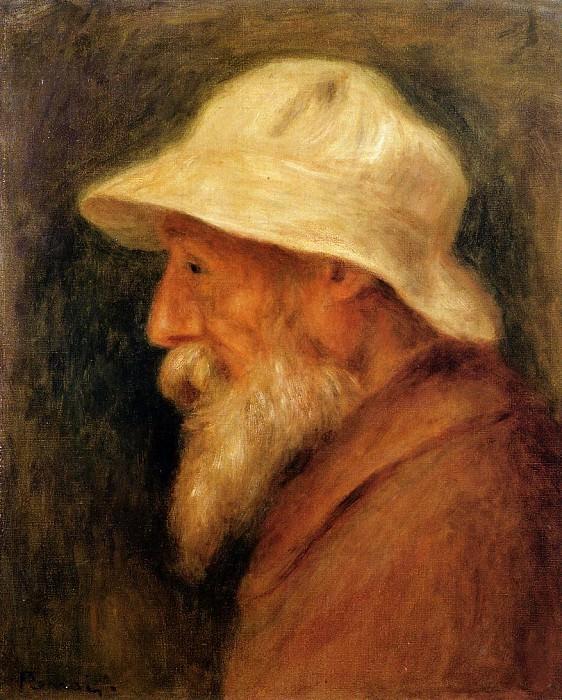Self Portrait with a White Hat - 1910. Pierre-Auguste Renoir