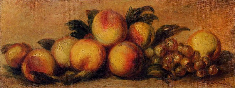 Still Life with Peaches and Grapes. Пьер Огюст Ренуар