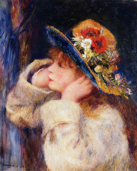 Young Girl in a Hat Decorated with Wildflowers - 1880. Pierre-Auguste Renoir