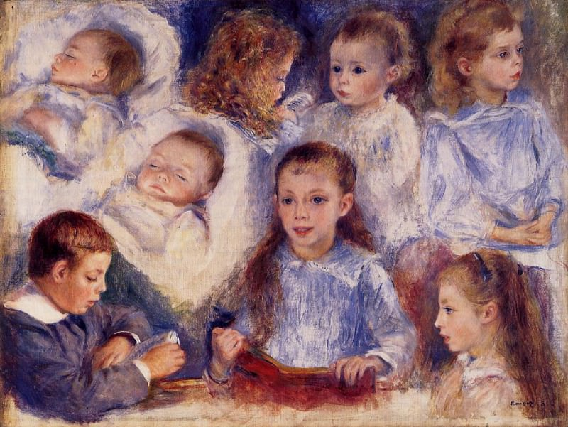 Studies of the Children of Paul Berard - 1881. Pierre-Auguste Renoir