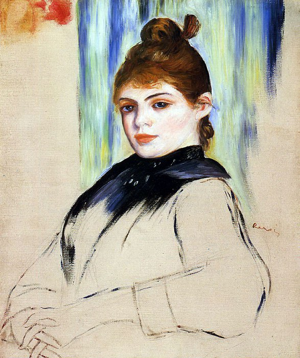 Young Woman with a Bun in Her Hair - 1882. Pierre-Auguste Renoir