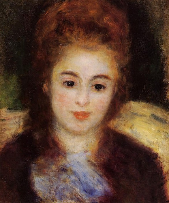 Head of a Young Woman Wearing a Blue Scarf (also known as Madame Henriot) - 1876. Pierre-Auguste Renoir