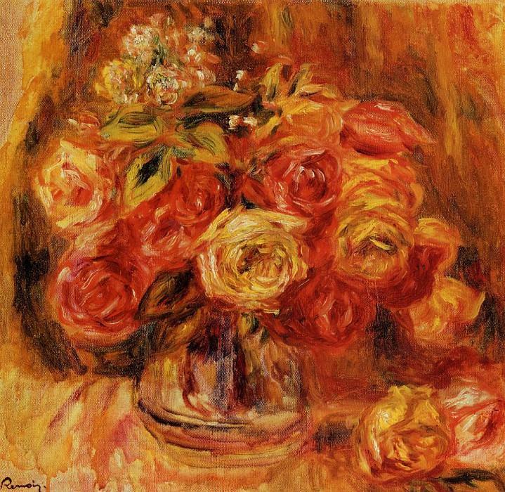 Roses in a Vase - 1911-1912. Pierre-Auguste Renoir