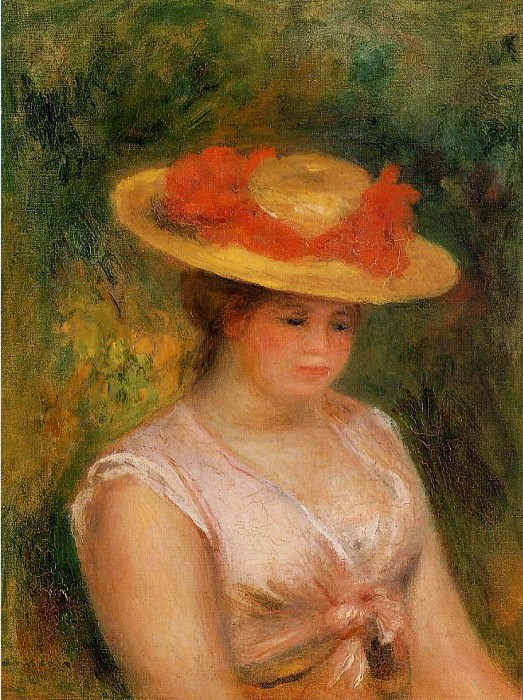 Young Woman in a Straw Hat - 1901. Пьер Огюст Ренуар