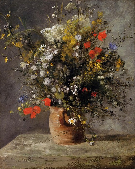 Flowers in a Vase - 1866. Пьер Огюст Ренуар