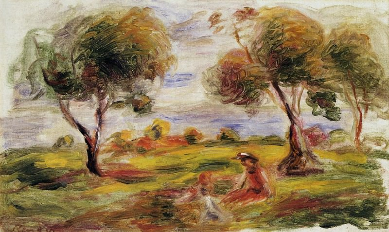 Landscape with Figures at Cagnes - 1916. Пьер Огюст Ренуар
