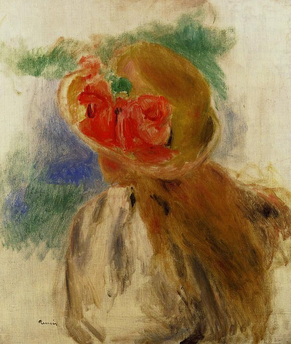 Young Girl in a Flowered Hat. Pierre-Auguste Renoir
