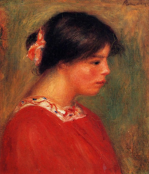 Head of a Woman in Red - 1909. Пьер Огюст Ренуар