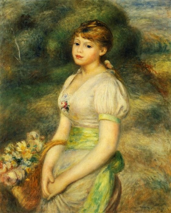 Young Girl with a Basket of Flowers - 1888. Pierre-Auguste Renoir