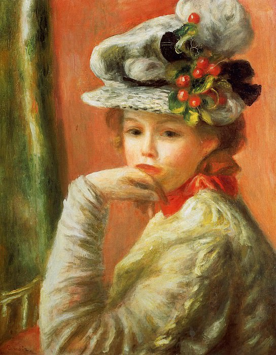 Young Girl in a White Hat - 1892. Pierre-Auguste Renoir