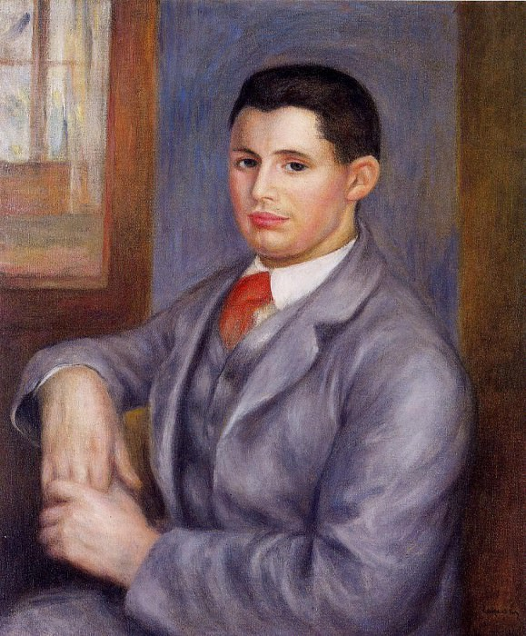 Young Man in a Red Tie, Portrait of Eugene Renoir - 1890 (Private collection ). Pierre-Auguste Renoir