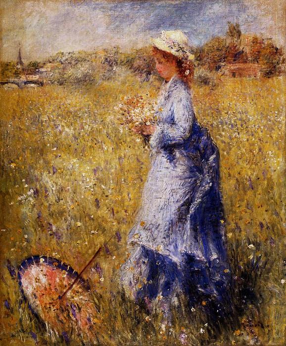 Girl Gathering Flowers - 1872. Пьер Огюст Ренуар