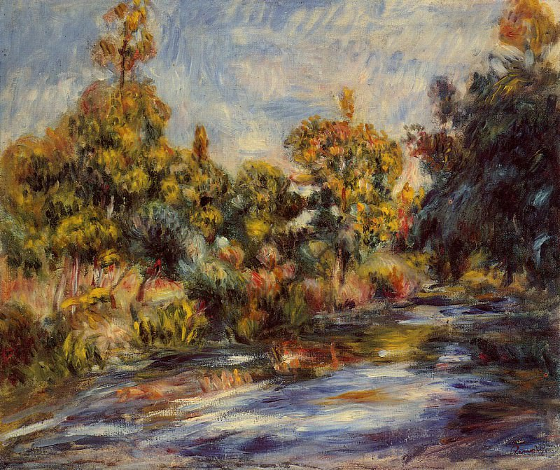 Landscape with River - 1917. Пьер Огюст Ренуар