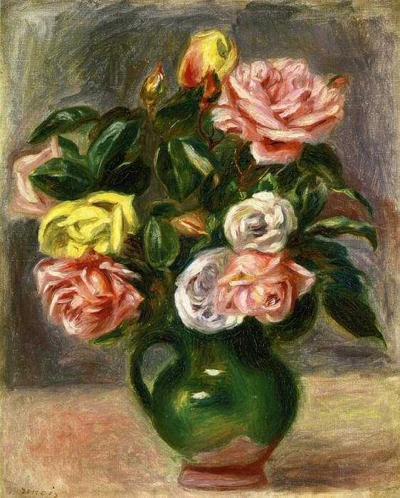 Bouquet of Roses in a Green Vase. Pierre-Auguste Renoir