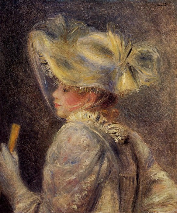 Woman in a White Hat - 1890. Pierre-Auguste Renoir