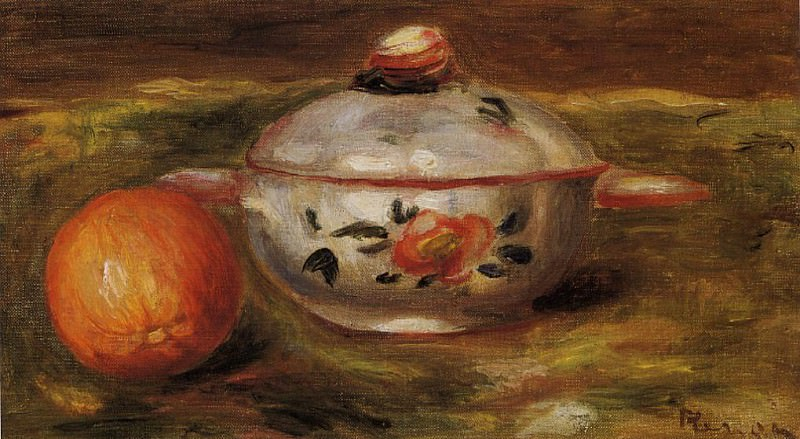 Still Life with Orange and Sugar Bowl. Пьер Огюст Ренуар