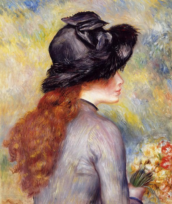 Young Girl Holding at Bouquet of Tulips - 1878. Pierre-Auguste Renoir