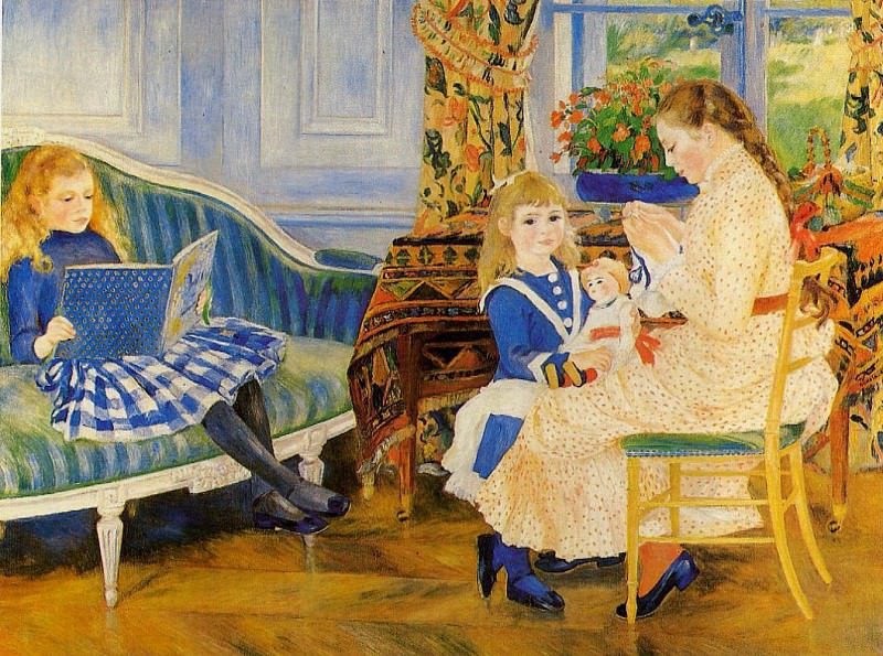 Childrens Afternoon at Wargemont (also known as Marguerite, Lucie and Marthe Barard) - 1884. Pierre-Auguste Renoir
