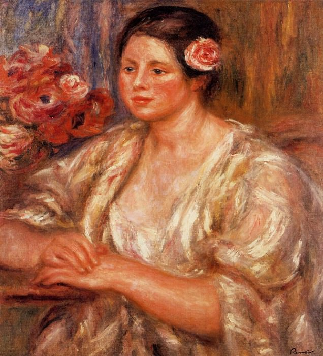 Madelaine in a White Blouse and a Bouquet of Flowers - 1918. Pierre-Auguste Renoir