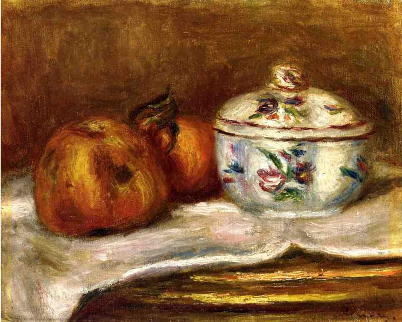 Sugar Bowl, Apple and Orange. Pierre-Auguste Renoir