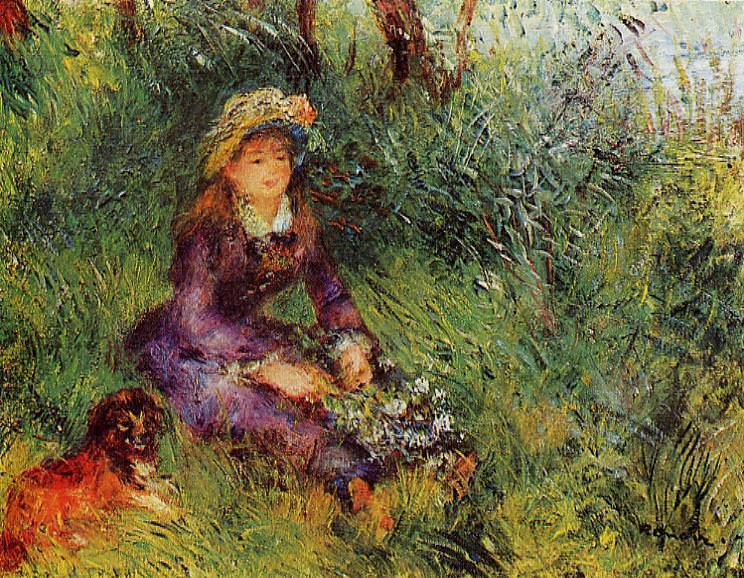 Madame Renoir with a Dog - 1880. Пьер Огюст Ренуар