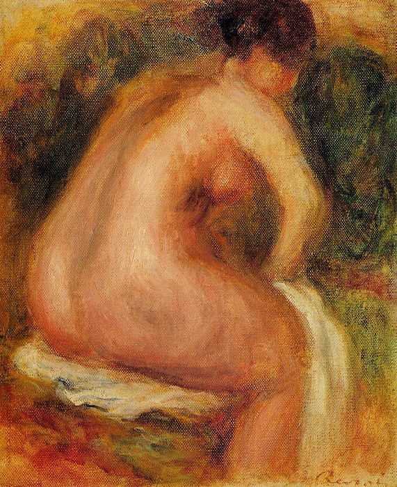 Seated Female Nude - 1910. Пьер Огюст Ренуар