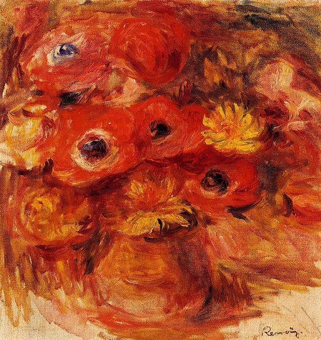 Vase of Anemones. Pierre-Auguste Renoir