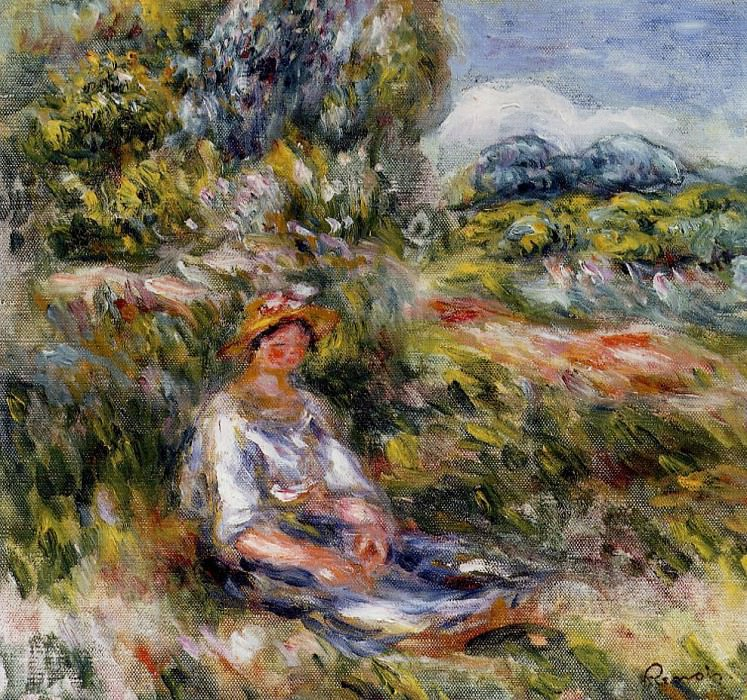 Young Girl Seated in a Meadow - 1916. Pierre-Auguste Renoir