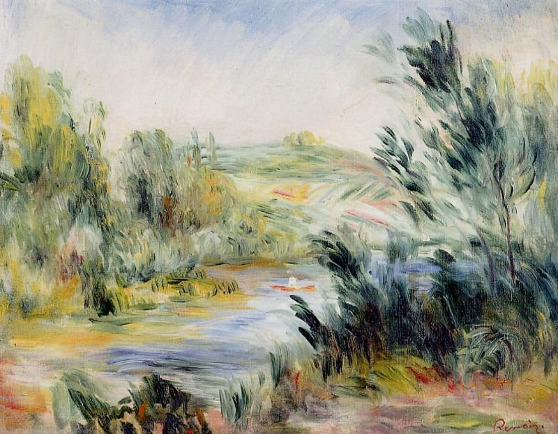 The Banks of a River, Rower in a Boat. Pierre-Auguste Renoir