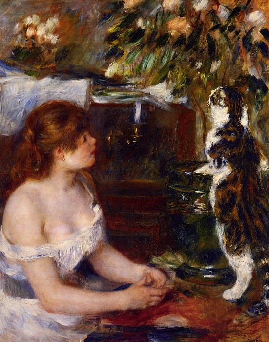 Girl and Cat - 1881 -1882. Пьер Огюст Ренуар