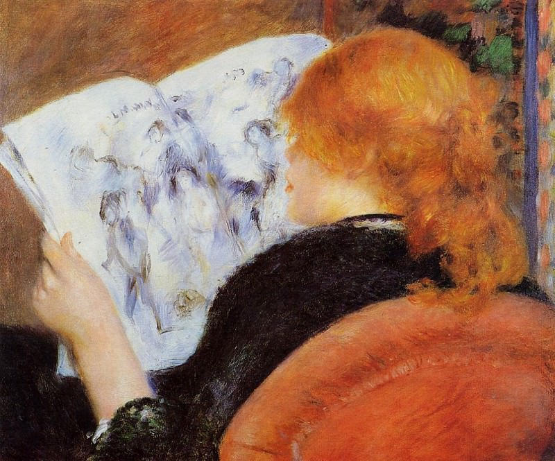 Young Woman Reading an Illustrated Journal - 1880. Pierre-Auguste Renoir
