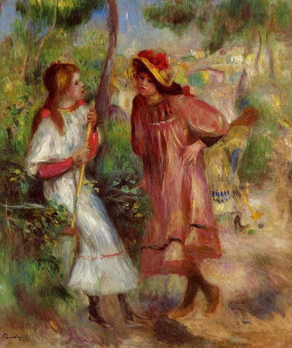 Two Girls in the Garden at Montmartre - 1895. Pierre-Auguste Renoir